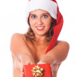 Sexy Topless Woman with Santa Hat and Christmas Gifts — Stock Photo #6925434