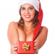 Sexy Topless Woman with Santa Hat and Christmas Gifts — Stock Photo #6925435
