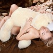 Naked pretty young blonde sleeps — Stock Photo