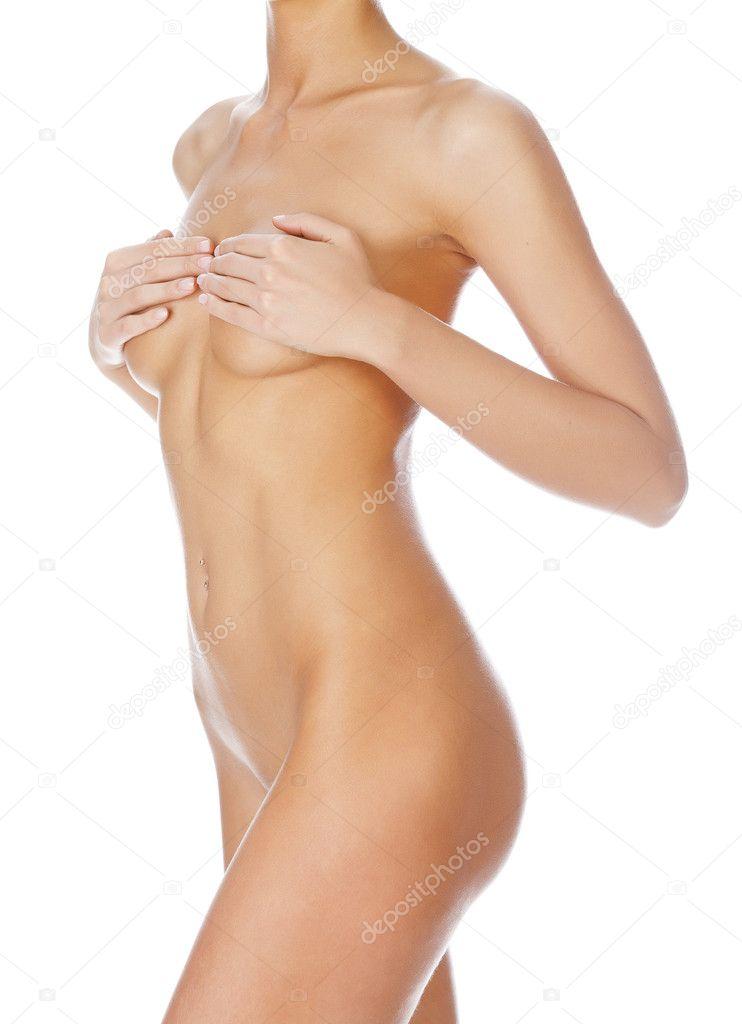 Beautiful Female Body Isolated On Clear White Background Stock Image