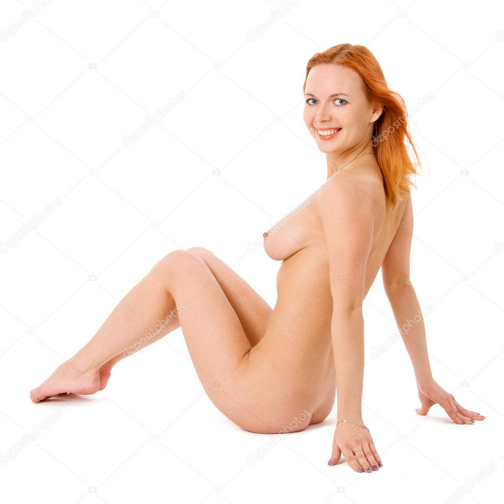 Sexy naked redhead woman in studio on white — Stock Photo #7611610