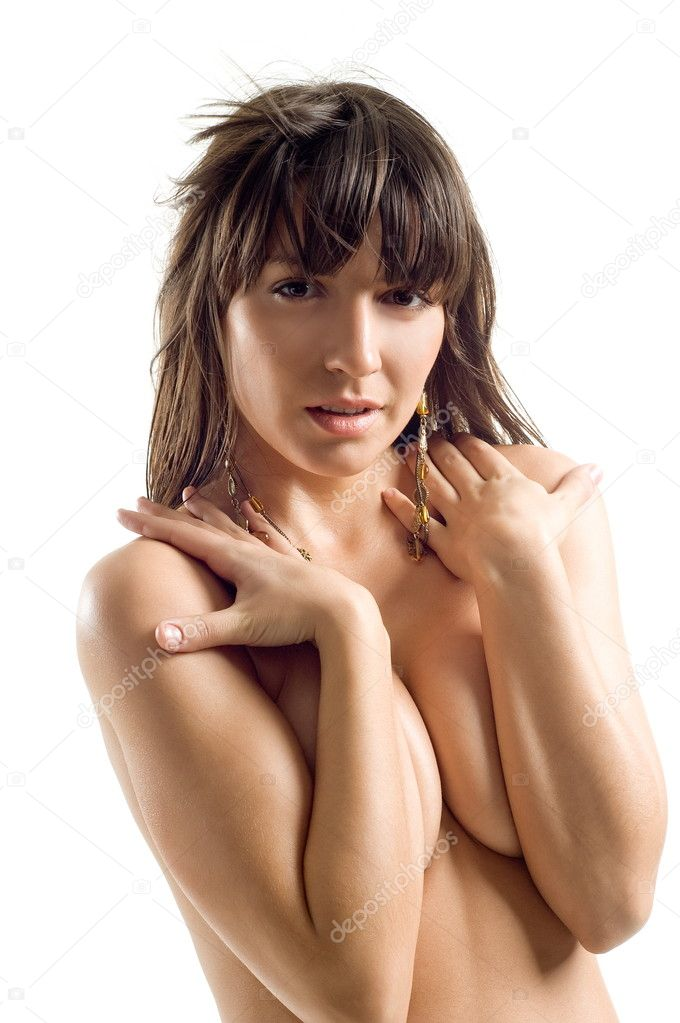 Portrait beautiful sexual denuded girls on white background is insulated — Stock Photo #6952979