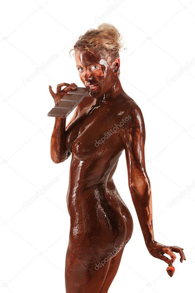 naked girl covered in cream