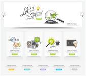 Elementos de carrusel de diseño web con conjunto de iconos — Vector de stock