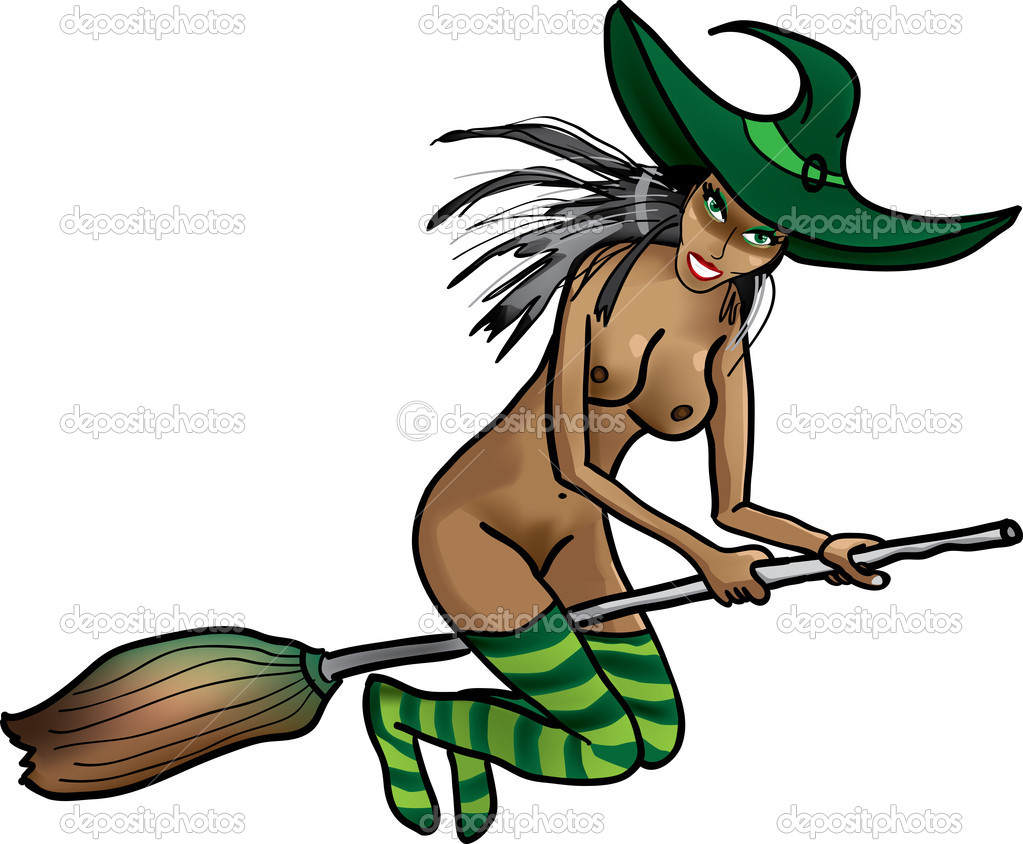 Naked Witch On A Broomstick Stock Illustration