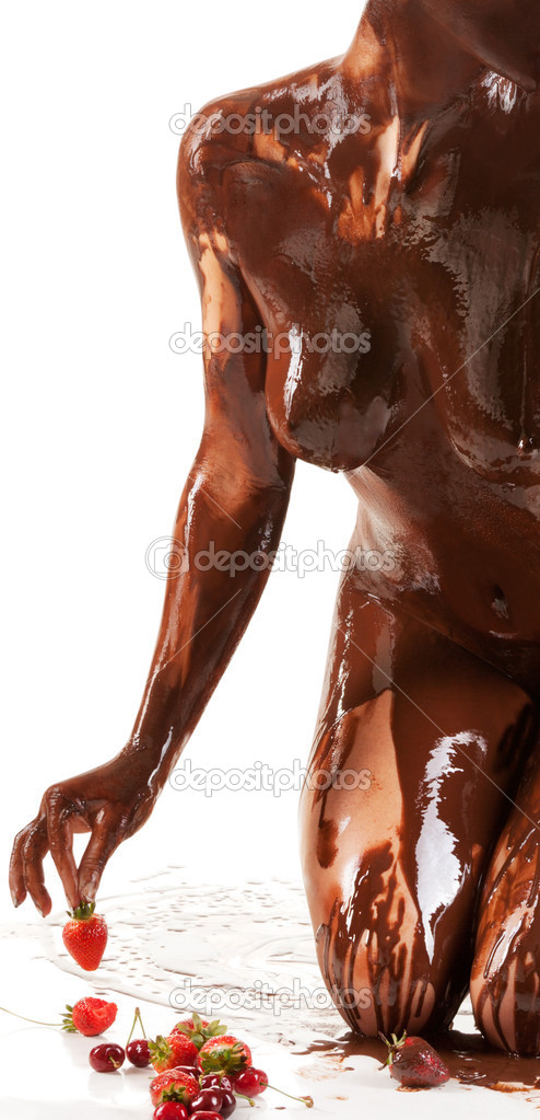 A picture of a hot naked woman covered in chocolate