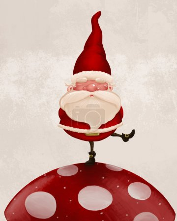 Photo for Little Santa Claus on big red fungus - Royalty Free Image